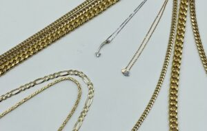 Gold and silver chains and necklaces